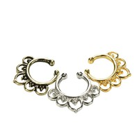 Variety Fake Septum Nose Rings Crystal Gold Faux Piercing Nose Studs Body Hoop Nose Ring For Women Septum Clip Jewelry SM6