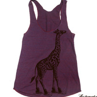 Womens GIRAFFE (in High Tops) american apparel Tri-Blend Racerback Tank Top S M L (8 Color Options)