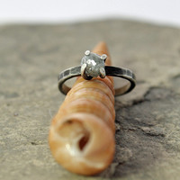 raw canadian diamond and oxidized sterling silver engagement ring - rustic engagement ring - April birthstone - made to order