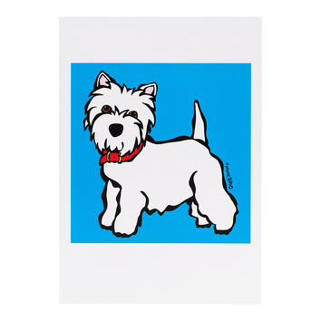 Westie on Blue Greeting Card
