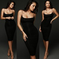 Sexy Women Bodycon Sleeveless Dress Evening Cocktail Party Clubwear Pencil Dress