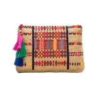 Star Mela Peri Embroidered Purse in Natural & Red