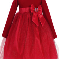 Red Long Sleeve Velvet & Glitter Tulle Girls Holiday Dress 6m-10