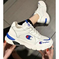 Champion Fashion Women Casual Embroidery Sport Running Shoes Sneakers White&Blue