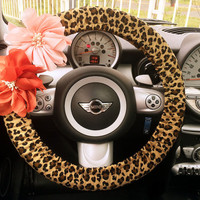 Car Steering wheel cover-Yellow leopard w/ Chiffon Flower, Unique Automobile Accessories, Car Decor, Automobile Wheel cover, Valentine Gift