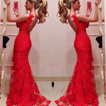 Red Bodycon Mermaid Evening Bridal Party Gowns Long Prom Dresses Custom [7279463239]