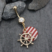 Belly Button Jewelry Gold, Navel Ring, Dangle Belly Piercing, Anchor Wheel Rudder Compass Nautical Sea Ocean July 4th United States America