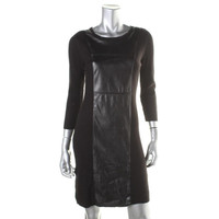 Calvin Klein Womens Ribbed Knit Faux Panel Sweaterdress