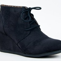 REX Designer toms Inspired Stitch Detail Lace Up Ankle Bootie Wedge, Black Suede-willow01, 8.5 B(M) US