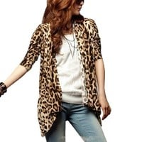 Allegra K Women Leopard Long Sleeve Open Front Boyfriend Cardigan