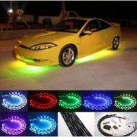 """ZHOL® 7 Color LED Under Car Glow Underbody System Neon Lights Kit 48"""" x 2 & 36"""" x 2 w/Sound Active Function and Wireless Remote Control"""