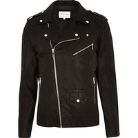River Island MensBlack leather-look biker jacket