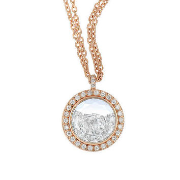 Circle Dome with Floating Diamonds Necklace - Rose Gold