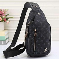 LV Louis Vuitton fashion stripe canvas leisure handbag backpack bag