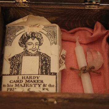 The Cartomancer's Secret- handmade Altar box with RARE COLLECTIBLE deck of English playing cards