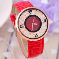 Women's Roman Rhinestone Watches with Leather Wirst Band Strap Red