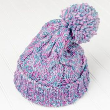 Women's Multicolored Cableknit Hat