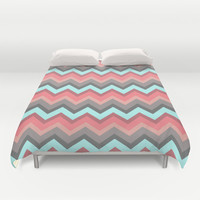 Vintage Lava Peach Aqua Chevron Pattern Design Duvet Cover by RexLambo | Society6