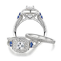 2ct Princess AAA Blue Cz 925 Sterling Silver Engagement Wedding Ring Set