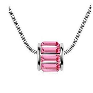 14K White Gold plated Pink Sapphire IOBI Crystals Necklace