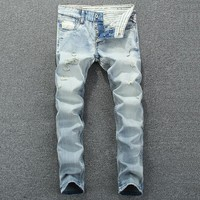 Men Ripped Holes Slim Summer Stylish Denim Jeans [748306301021]