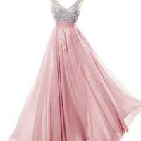 Dresstells Long Prom Dress with Beads Bridesmaid Dress Graduation Dress Blush Size 2