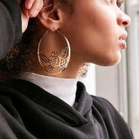 Etched Rose Statement Hoop Earring | Urban Outfitters