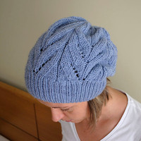 Blue hand knitted hat with lace