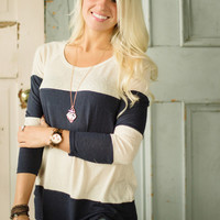 Striped Out Top (Navy)