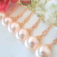 Unique Bridesmaid Gift Idea Set Of 7 15% Off- Rose Gold Jewelry- Pink Pearl Wedding Jewelry Pearl Wedding Earrings Cubic Zirconia Earring