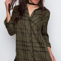 Forrest Plaid Top - Olive