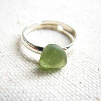 Green Sea Glass Ring - Adjustable Silver Ring with Genuine Beach Glass in Olive Green, Simple Minimalist Beach Glass Ring, Sea Glass Jewelry