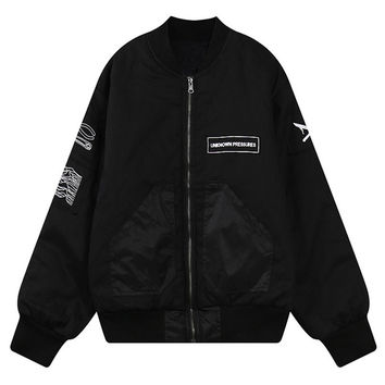 Black Contrast Letter And Tools Print Bomber Jacket