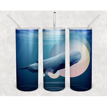 Sperm Whale Skinny Tumbler With Stainless Steel Straw Watercolor Ocean Illustrated Whale Gift Idea Travel Mug Cold Hot Vacuum Lid