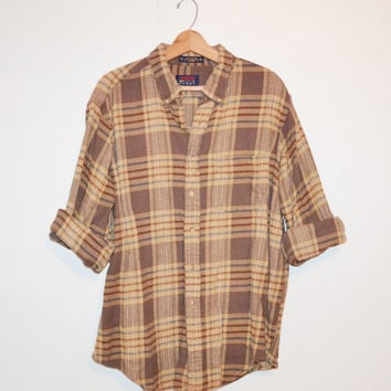 Vintage Plaid Flannel Shirt Vintage 90s Brown and Beige Flannel Lumberjack Grunge slouchy button up Checkered Size XL