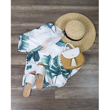 Palm Springs Leaf Print Strapless Romper