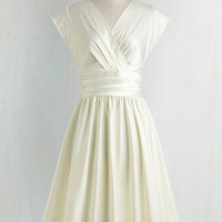 Vintage Inspired Long Cap Sleeves Fit & Flare Love You Ivory Day Dress