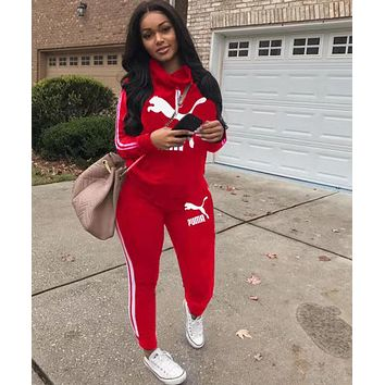 PUMA Women Leisure Print Hoodie Sweater Pants Set Two Piece Sportswear Red