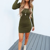 Give Me A Hint Dress: Olive