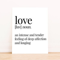 Love Defintion PRINTABLE Art Apartment Art Dorm Decor Typography Poster Home Decor
