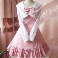 Pink College Wind Slim Bow Princess Dress