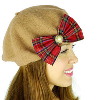 Caramel French Beret Hat with Big Red plaid glittery sparkle bow Women's Accessories Wool Beret Wool Hat Wool Earwarmers Butterscotch Hat