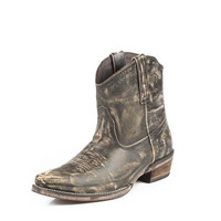 Roper Womens Dusty Leather Snip Toe Ankle Cowgirl Boot
