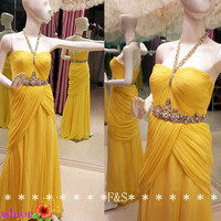 Halter Evening Gown, Open Back Prom Dress Bridesmaid,Yellow Sexy Homecoming Dress, Side Split Mermaid Evening Gown Prom Dress Custom Made