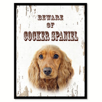 Beware of Cocker Spaniel Dog Sign Gifts Canvas Print Home Décor Picture Frames Wall Art