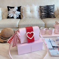 HCXX 19Aug 473 Valentine Gift Fashion Heart-shaped Flap Bag Shoulder Strap Minaudiere Bag