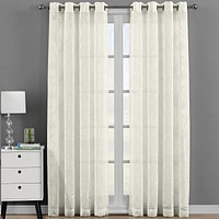 Beige 54x84 Andora Embroidered Grommet Top Sheer Panel Curtain Set (Set of 2 )