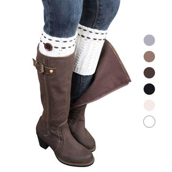 1 Pair High Grade Knitted Leg Warmers Socks Boot Cover = 1945848132