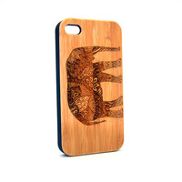Real Wood iPhone 4s Case, Elephant  iPhone 4s Case, Wood iPhone 4s Case, Wood iPhone Case,