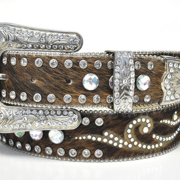 Nocona Ladies Rhinestone Round Concho Hair-on Leather Belt